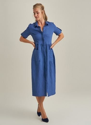 NGSTYLE Cep Detaylı Elbise İndigo